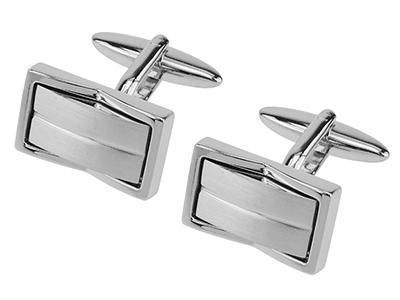 TN-1670R2 Brush Silver Inlaid Metal Cufflinks