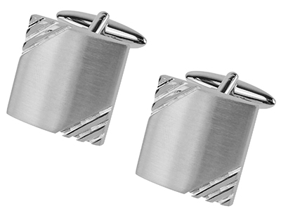 662-3R2 Brushed Silver Grooves Cufflinks