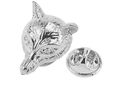 TP57-14R Silver Animal Fox Lapel Pin