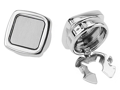 234-30R2/BC Shiny Brush Silver Square Button Cover