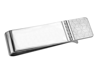 TN-1249R2 Shiny Silver Brass Money Clip
