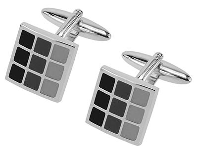 229-9R Black Tonal Enamel Checker Cufflinks
