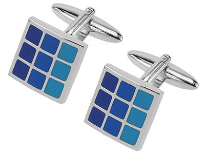 229-9R Blue Tonal Enamel Checker Cufflinks