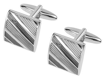613-18R Grey Tonal Diagonal Stripes Cufflinks