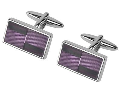 654-17R Transparent Purple Enamel Cufflinks