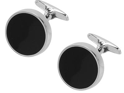 Black Enamel Round Cufflinks