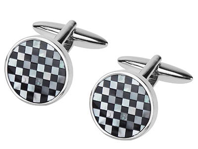 642-15R Mother of Pearl and Black Onyx Cufflinks