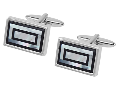 TN-1490R Onyx and Mother of Pearl Cufflinks