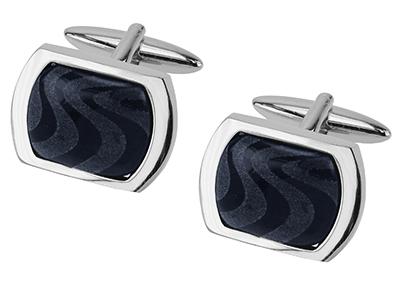 561-6R Laser Engraved Dark Blue Catseye Cufflinks