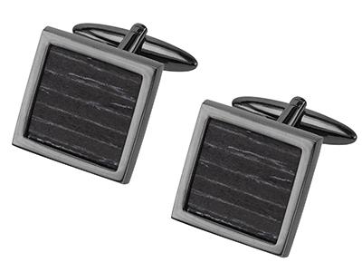 Black Wood Square Cufflinks