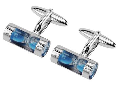 280-28R Blue Hourglass Cufflinks