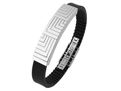 R7-COM-05 Stainless Steel Engraved Lines Bracelet