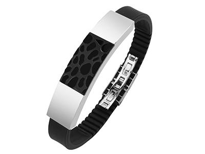 Stainless Steel Two Tone IP Black Bracelet