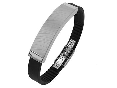 R7-COM-09 Stainless Steel Zebra Texture Bracelet