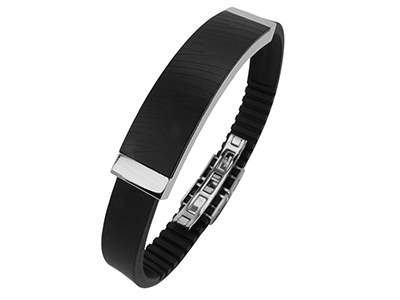 R7-COM-10 Stainless Steel IP Black Zebra Texture Bracelets