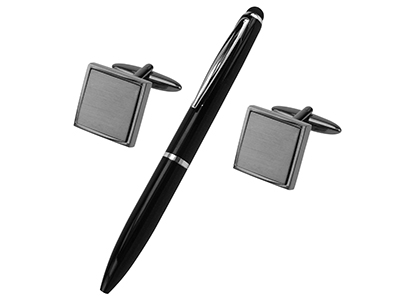 SET1022-12GM2 Gunmetal Square Cufflinks and Pen Set