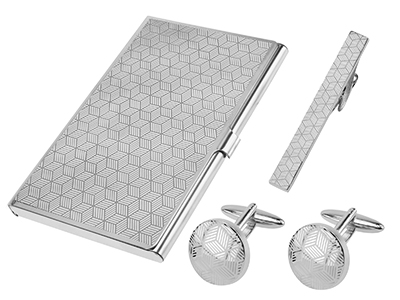 Laser Engraved Quadrilateral Cufflinks Tie Clip and Card Holder