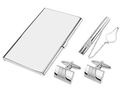 SET638-23R2 Silver Cufflinks Tie Clip and Card Holder Set