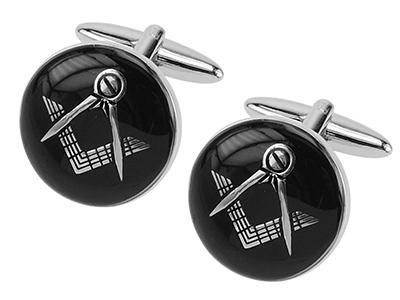 146-8R Black Masonic Cufflinks