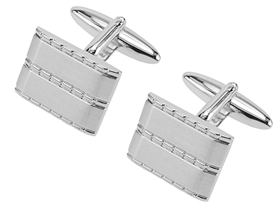 631-24R2 Conservative Silver Mens Cufflinks