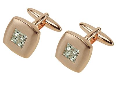 Rose Gold Crystal Cufflinks