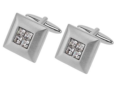 Gentleman Square Crystal Cufflinks