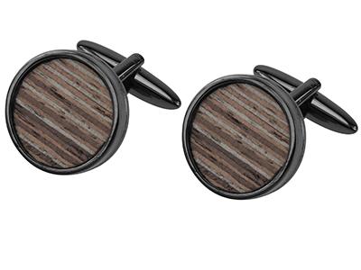Round Wooden Cufflinks