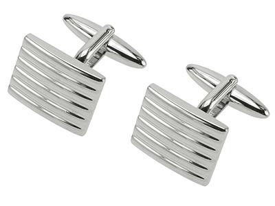 TN-221R Shiny Finish Silver Striped Cufflinks