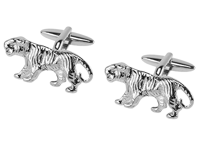 309-1R Silver Tiger Cufflinks