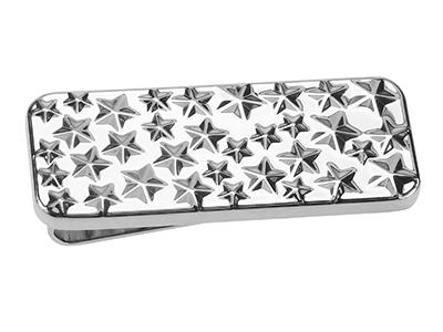 MC51-16R Shiny Silver Money Clip With Stars