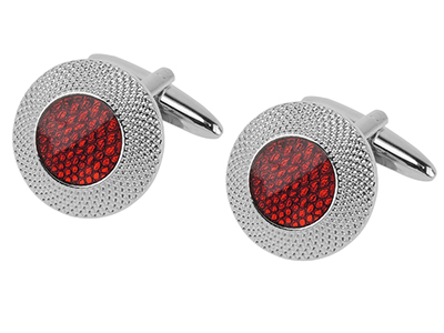 Double Circle Red Cufflinks