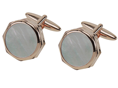 Rose Gold Mother Of Pearl Cufflinks