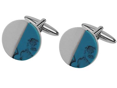 Brush Silver Turquoise Cufflinks