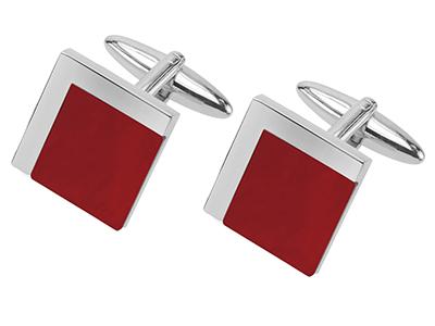 Square Red Agate Cufflinks