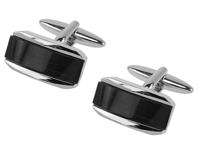 640-23R Shiny Silver Cateye Cufflinks