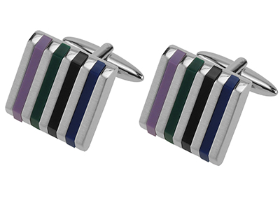 Colorful Striped Resin Cufflinks