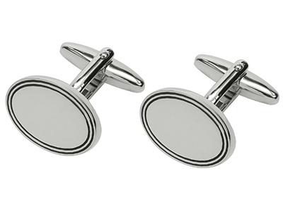Shiny Silver Oval Cufflinks
