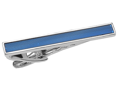 Silver Enamel Tie Clip