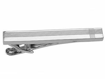 Shiny Rhodium Tie Clip Bar
