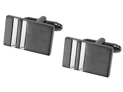 643-15GMR1 Black Silver Tone Cufflinks