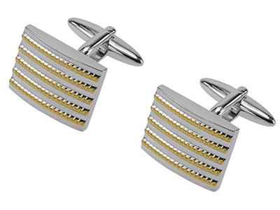 1454-6RG Silver Gold Tone Cufflinks