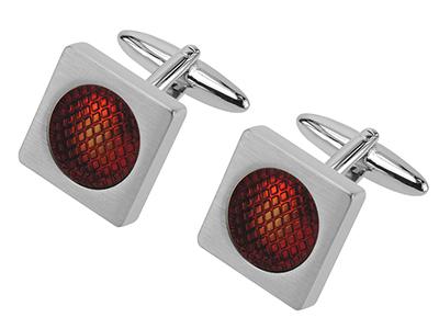624-24R1 Brush Silver Cufflinks With Red Enamel