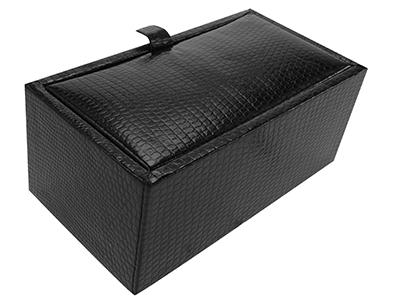 Black Textured Plastic Cufflink Box