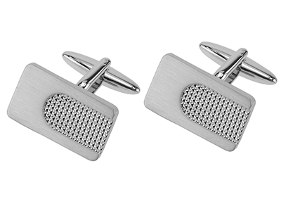 Silver Tone Rectangle Cufflinks