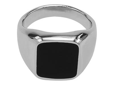 R00009R Mens Rhodium Plated Retro Ring