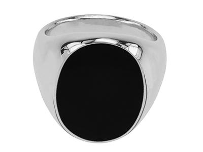 R00002R Oval Black Enamel Silver Mens Ring