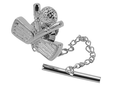 TN-1868/TP Silver Golf Tie Tack with Chain