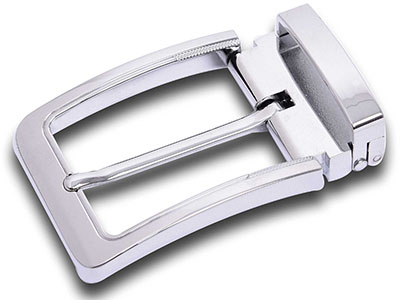 Reversible Silver Pin Belt Buckle With Clip