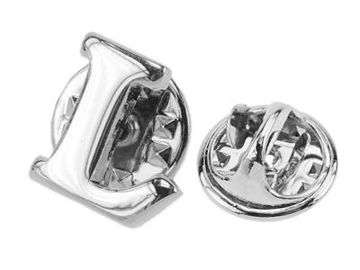 TP60-14R L Custom Silver Initial Letter Lapel Pins