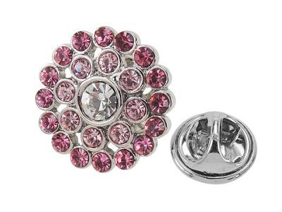 649-13R/TP Luxury Pink Tone Crystal Rhinestone Lapel Pins